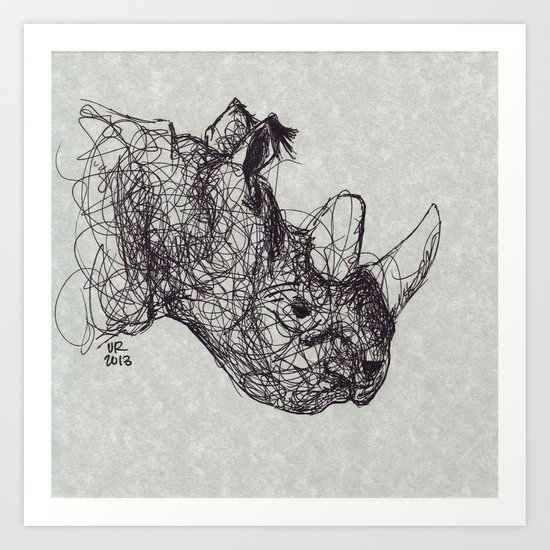Reginald Rhinoceros Art Print