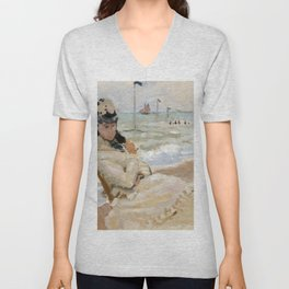 Claude Monet - Camille on the Beach in Trouville Unisex V-Neck