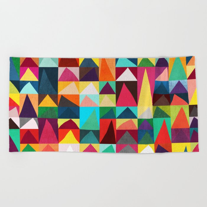 Abstract Geometric Mountains Beach Towel