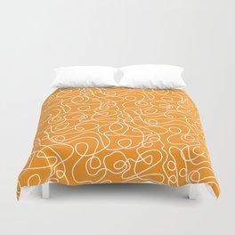 Doodle Line Art | White Lines on Bright Orange Duvet Cover