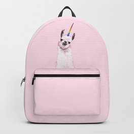 Unicorn Llama in Pink Backpack