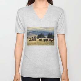 National Parks Bison Herd Unisex V-Neck