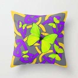 Lime Yellow Butterflies Purple-grey-gold Celtic Art Throw Pillow