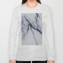White Marble with Black and Blue Veins Long Sleeve T-shirt