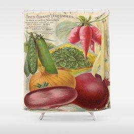 Vintage poster - Seven Grand Vegetables Shower Curtain