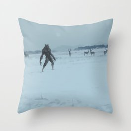 a lonely wolf Throw Pillow