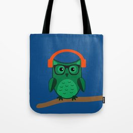 Owl On A Limb (Blue) Tote Bag