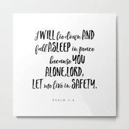 Psalm 4:8 - Bible Verse Metal Print