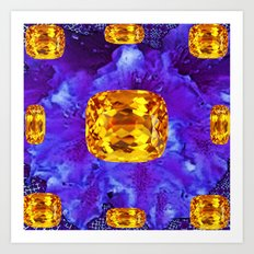 Golden Topaz Gems & Amethyst-Ultra-Violet Purple Color Art Print