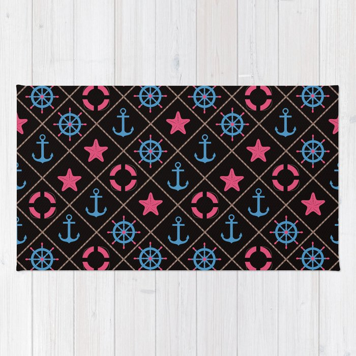 Nautical decor on black background . Rug