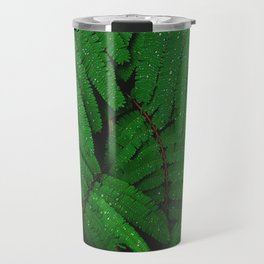 Layers Of Wet Green Fern Leaves Patterns In Nature Travel Mug