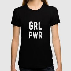 GRL PWR (pink) Womens Fitted Tee SMALL Black