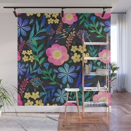 Pretty Girly Pink Blue Floral Gray design Wall Mural