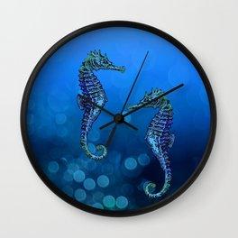 Sea Horse Couple In Deep Blue Water Wall Clock