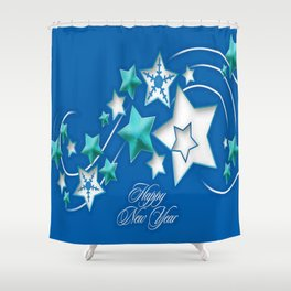 Jade and Blue Happy New Year Shooting Stars Shower Curtain