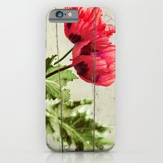 The Things We Remember - red poppy photo on wood texture iPhone 6 Slim Case