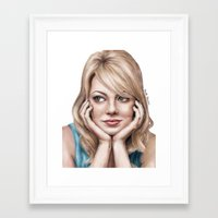 emma stone Framed Art Prints featuring Digital Portrait of Emma Stone by Arielle Herman