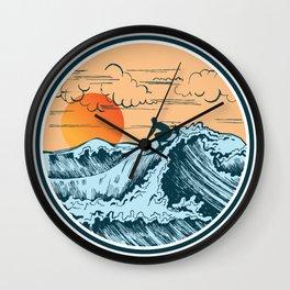 Surfer waves sea sun nature cloud free gift Wall Clock