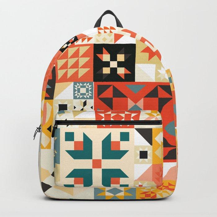 Modern Quilt Pattern Backpack