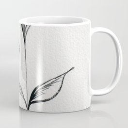Black and White Watercolor and Ink Flower with Peach Accent  Coffee Mug