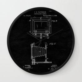 Vintage Camera Blueprint Sheet Two Wall Clock