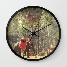 Elephant at Angkor Wall Clock