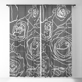 Feminine and Romantic Rose Pattern Line Work Illustration on Black Sheer Curtain