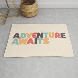 Adventure Awaits Retro Rainbow Typography Rug