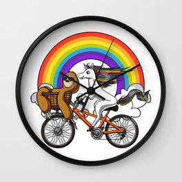 Magical Unicorn Sloth Riding Bicycle Rainbow Wall Clock