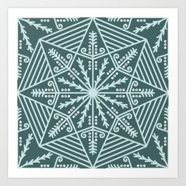 Pine & mint green pysanky lace pattern Art Print