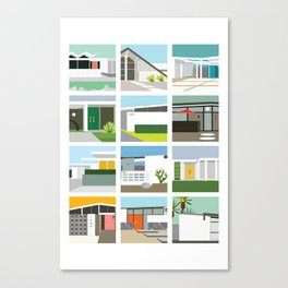 Midcentury Vintage Architecture Inspired by the Palm Springs Desert and Modern California Style Canvas Print