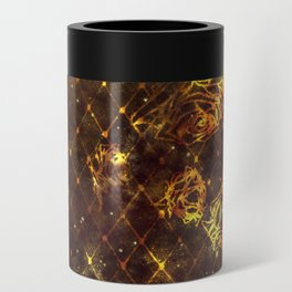 Diamond Rose Pattern - Maroon and Gold Can Cooler