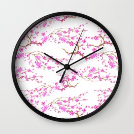 Japanese,sakura tree.Pink cherry blossom flower. Wall Clock