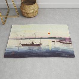 Fishing boats at sunset - Vintage Japanese Woodblock Print Art Rug