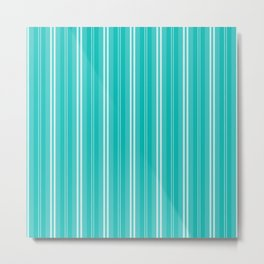 Aqua Blue Shades Pinstripes Metal Print