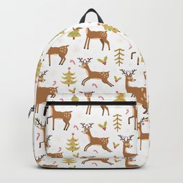 Pastel green brown cute Christmas deer festive pattern Backpack