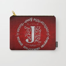 Joshua 24:15 - (Silver on Red) Monogram J Carry-All Pouch
