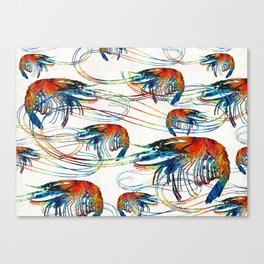 Colorful Shrimp Collage Art by Sharon Cummings Canvas Print