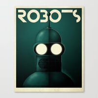 bender Canvas Prints featuring Robots - Bender by Greg-guillemin