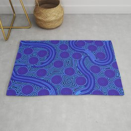 The Rivers around Us (blue) - Authentic Aboriginal Art Rug