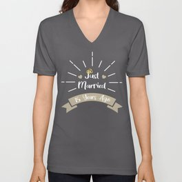 Funny 15th Anniversary Just Married 15 Years Ago Marriage graphic Unisex V-Neck