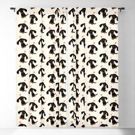 Dachshund Love | Cute Longhaired Black and Tan Wiener Dog Blackout Curtain