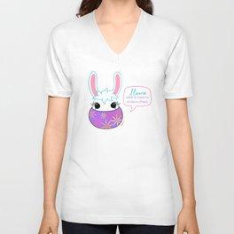 Llama Wear A Mask Unisex V-Neck