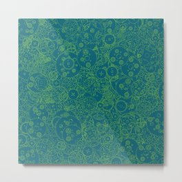 Clockwork Turquoise & Lime / Cogs and clockwork parts lineart pattern Metal Print