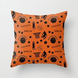 Slam Dunk Basketball Orange and Black Throw Pillow