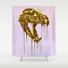 "Painted Skull ""Badger"" Gold Shower Curtain"