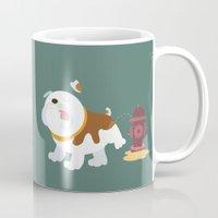 english bulldog Mugs featuring English bulldog by Fabio Rex