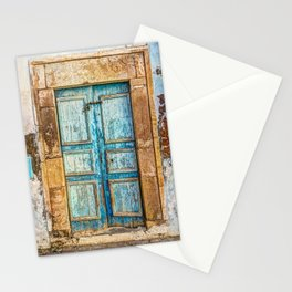 Textured azure door in Medina, Tunisia. Stationery Cards