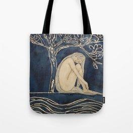 Girl sleeping under magnolia flowers Tote Bag