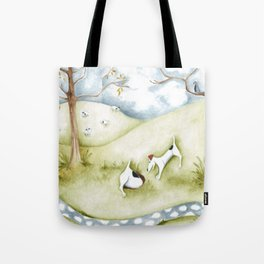 Dog sheep original art Jack Russell Terrier painting landscape Tote Bag